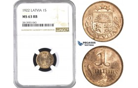 AA413, Latvia, 1 Santims 1922, NGC MS63RB