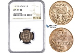 AA418, Latvia, 2 Santimi 1926, NGC MS63RB