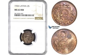 AA419, Latvia, 2 Santimi 1926, NGC MS63RB