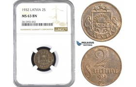 AA422, Latvia, 2 Santimi 1932, NGC MS63BN
