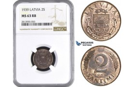 AA423, Latvia, 2 Santimi 1939, NGC MS63RB