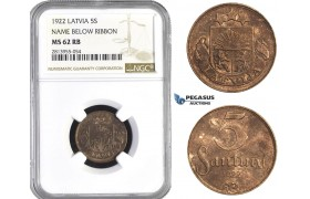 AA424, Latvia, 5 Santimi 1922 Name Below Ribbon, NGC MS62RB