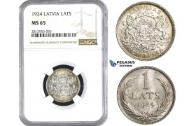AA425, Latvia, 1 Lats 1924, Silver, NGC MS65, Pop 7/0