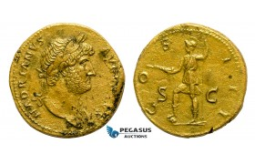 AA752, Roman Empire, Hadrian (117-138 AD) Æ Sestertius (25.02g) Rome, 125-128 AD., Virtus, Beautiful!
