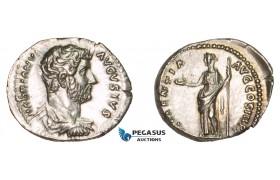 AA753, Roman Empire, Hadrian (117-138 AD) AR Denarius (3.66g) Rome, 132-34 AD, Clementia, Lustrous AU-UNC