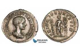 AA756, Roman Empire, Diadumenian Caesar (217-218 AD) AR Denarius (3.28g) Rome, Prince between standards