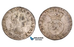 "AA758, France, Louis XV, 1/10 Ecu ""vertugadin"" Date not vissible, overstruck on 1709, AU (scratch)"