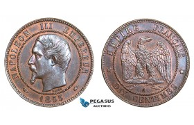 AA759, France, Napoleon III, 10 Centimes 1855-A, Paris, AU-UNC (Damages)