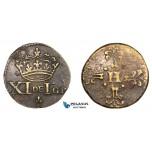 """AA764, France, Henry III, (1574-1589) Brass Monetary Weight  (Ø19.5mm, 4.00g) """"XI DE I GR"""""""
