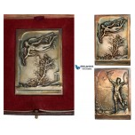 AA767, France, Silvered Bronze Art Nouveau Plaque Medal 1906 (70x50mm, 98g) by Vannier, Athens Intermediary Olympic Games