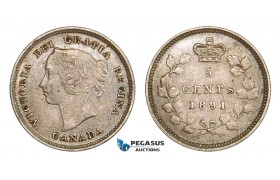 "AA801, Canada, Victoria, 5 Cents 1891, Silver, Repunched ""O"" Toned & Lustrous AU"
