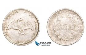 AA804, Chile, Medio Decimo 1856 So, Santiago, Silver, Lustrous VF-XF