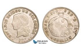 AA805, Colombia, 10 Centavos 1885, Medellin, Silver, aVF
