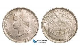 AA806, Colombia, 50 Centavos 1889, Bogota, Silver, Lustrous AU-UNC (Min. Hairlines)