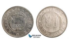 AA808, Guatemala, 50 Centavos 1870, Silver, VF-XF