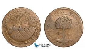 AA809, Honduras, Provisional coinage, Copper Ceiba 8 Reales 1857 T FL, Tegucigalpa, VF, Rare!