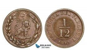 AA811, Paraguay, 1/12 Real 1845, XF-AU