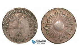 AA812, Peru, Provisional coinage, 1/4 Real 1822, planchet flaw, XF-AU