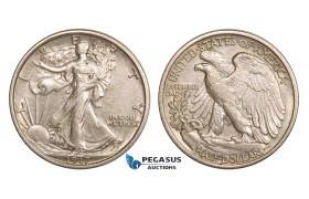 AA819, United States, Walking Liberty Half Dollar (50C) 1917, Philadelphia, AU