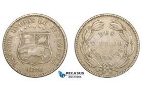 AA820, Venezuela, 2 1/2 Centavos 1876, VF