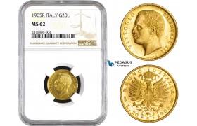 AA823, Italy, Vitt. Emanuele III, 20 Lire 1905-R, Rome, Gold, NGC MS62