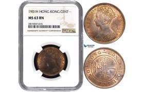AA840, Hong Kong, Victoria, 1 Cent 1901-H, Heaton, NGC MS63BN