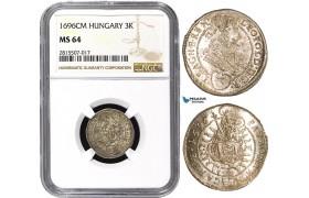 AA841, Hungary, Leopold I, 3 Krajczar 1696 CM, Kashau, Silver, NGC MS64, Pop 1/0
