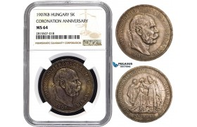 AA842, Hungary, Franz Joseph, 5 Korona 1907-KB, Kremnitz, Silver, NGC MS64 (Coronation Anniversary)