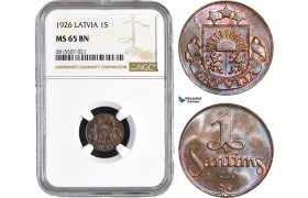 AA845, Latvia, 1 Santims 1926, NGC MS65BN, Pop 8/0
