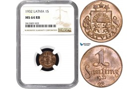 AA846, Latvia, 1 Santims 1932, NGC MS64RB