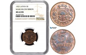 AA847, Latvia, 5 Santimi 1922, NGC MS62BN