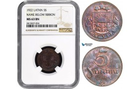 AA848, Latvia, 5 Santimi 1922, NGC MS63BN