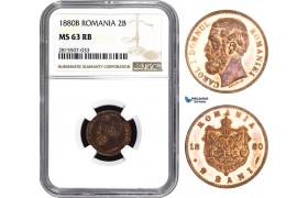 AA858, Romania, Carol I, 2 Bani 1880-B, Bucharest, NGC MS63RB
