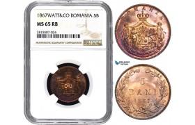 AA859, Romania, Carol I, 5 Bani 1867 Watt&Co, Birmingham, NGC MS65RB