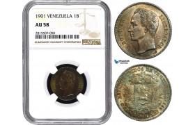 AA875, Venezuela, 1 Bolivar 1901, Paris, Silver, NGC AU58