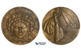 AA879, France, Bronze Art Deco Medal 1907 (Ø64mm, 120g) by Dammann, Electricity Company