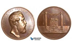 AA887, Sweden, Oscar II, Bronze Medal 1872 (Ø56mm, 74g) by Ahlborn, Masonic Lodge