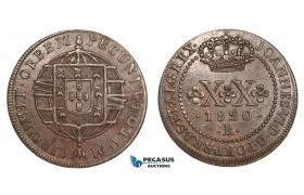 AA891, Brazil, João VI, 20 Reis 1820-R, Rio de Janeiro, Brown AU