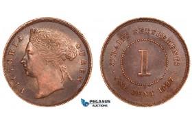 AA894, Straits Settlements, Victoria, 1 Cent 1897, Cleaned AU-UNC