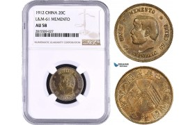 AA897, China, Memento 20 Cents 1912, Silver, L&M 61, NGC AU58