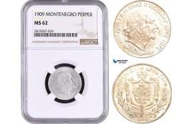 AA899, Montenegro, Nicholas I, 1 Perper 1909, Silver, NGC MS62, Pop 1/1