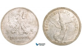 "AA902, Poland, 5 Zlotych 1928 ""Nike"" No mintmark, Warsaw, Silver, Lustrous XF-AU, light cleaning!"