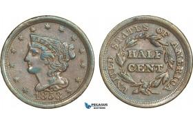 AA906, United States, Braided Hair Half Cent 1853, Philadelphia, XF-AU