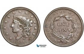 AA907, United States, Coronet Head Cent 1838, Philadelphia, Few marks, XF