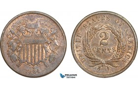AA908, United States, Shield 2 Cents 1864, Philadelphia, Brown AU