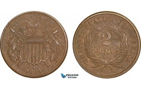 AA909, United States, Shield 2 Cents 1864, Philadelphia, Brown AU-UNC