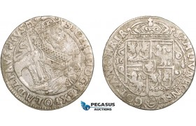 AA920, Poland, Sigismund III, Ort (1/4 Taler) 1624, Bromberg, Silver (6.66g) Kop. 1281 (R3) VF-XF