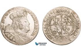 AA921, Poland, August III, 18 Groschen (Ort) 1756 EC, Leipzig, Silver (5.54g) Lustrous XF-AU