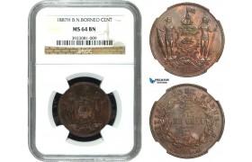 AA925, British North Borneo, Cent 1887-H, Heaton, NGC MS64BN