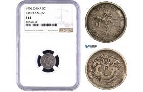 AA927, China, Kirin, 5 Cents 1906, Silver, L&M 566, NGC F15